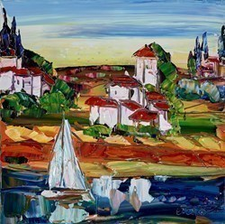 Shoreside VI by Maya Eventov -  sized 16x16 inches. Available from Whitewall Galleries